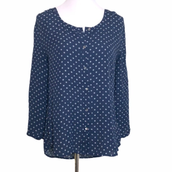 Lands End Navy Dash Dot Button Down Top